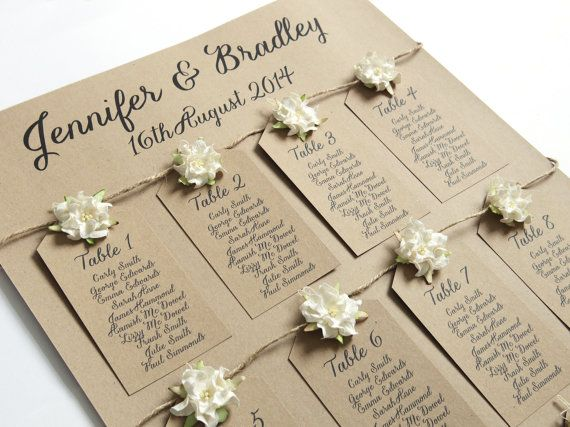 Rustic Flower Table Plan A2 Kraft Recycled Eco by STNstationery, £45.00--good idea instead of place cards