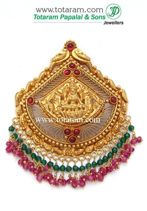 22K Gold 'Lakshmi' Pendant (Temple Jewellery)