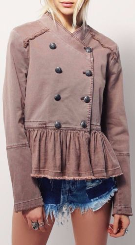 Free-People-Ruffle-Hem-Military-Jacket-Rose-Pink-Denim-Double-Breasted-OB480752