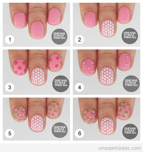 Tutorial para hacer un diseño de uñas con lunares y flores fáciles, paso a paso