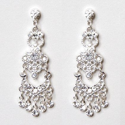 Three Tier Crystal Chandelier Silver Drop Earrings Moreismore