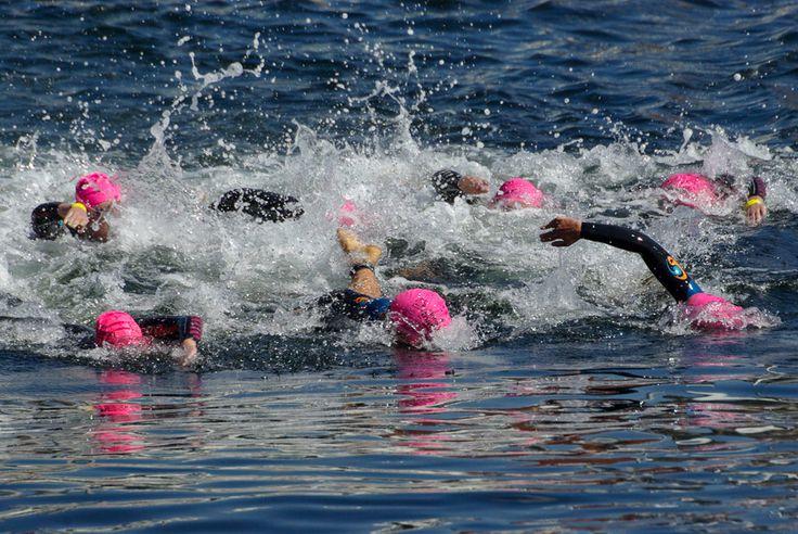 The start of the swim leg of a triathlon . Autofocus tips for sports photography. http://aviewfinderdarkly.com.au/2016/04/08/how-to-use-dslr-autofocus/