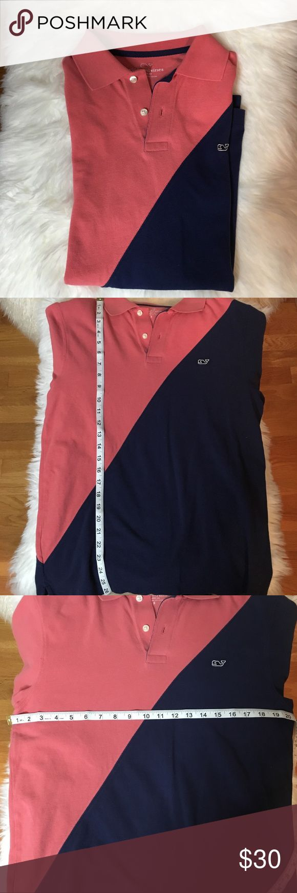 Vineyard Vines Men's color block polo Small Men's Vineyard Vines polo shirt salmon (pink) and blue color block. This shirt is in great preowned condition. Vineyard Vines Shirts Polos