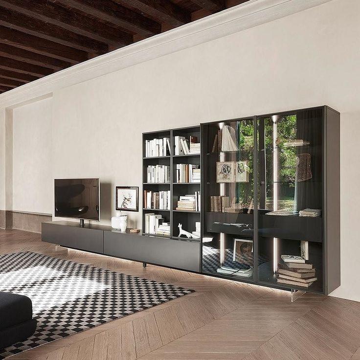 Epic Moderne Wohnwand mit Glasvitrine von Livitalia Wohnwand wallsystem wallunit livingroom
