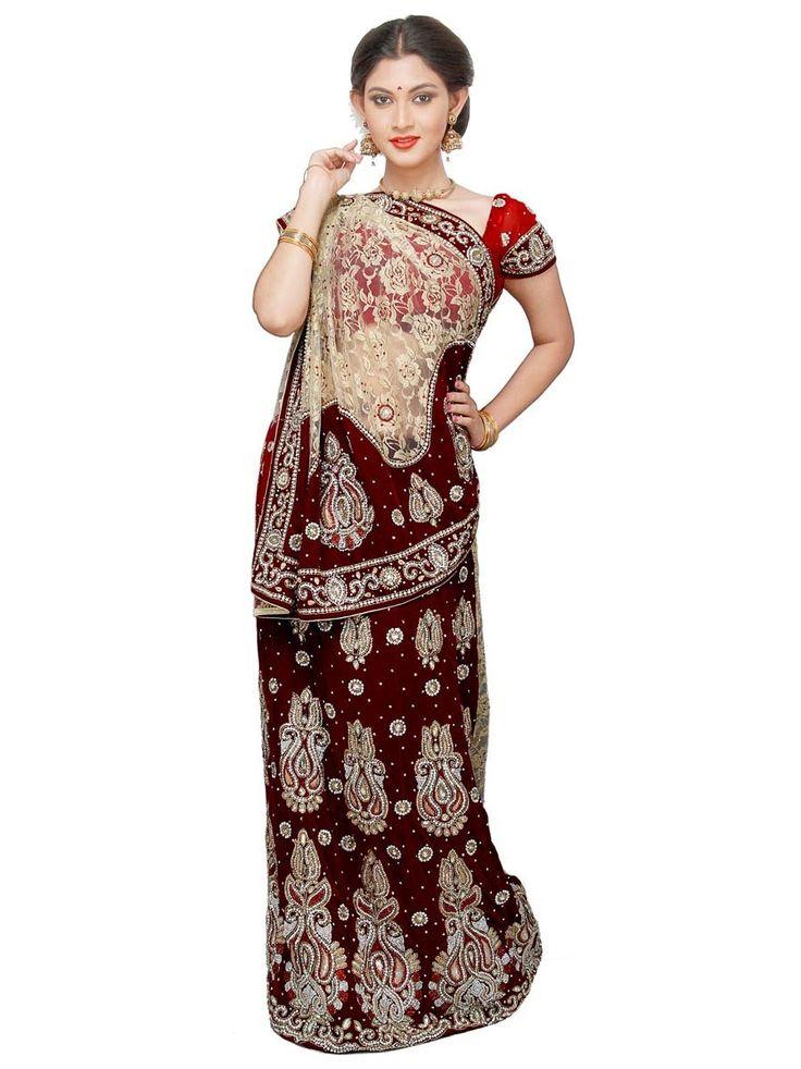 Grandiose maroon, beige color velvet, jacquard net Lehenga Saree. Item code : SKDE11979 http://www.bharatplaza.com/women/sarees/lehenga-saree.html