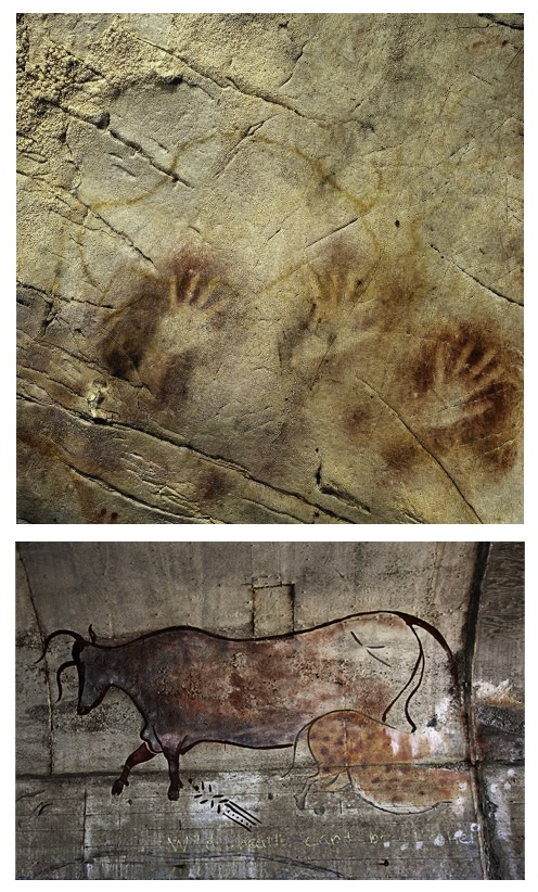 Photo 1: Panel of Hands, El Castillo Cave, Spain (AP Photo/Pedro Saura, AAAS, circa 40,800 BC), oldest known paintings.    Photo 2: Cave Painting Graffiti, Marin Headlands, CA (Photo/Ken Holden, circa 21st Century).