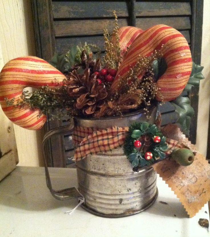 vintage flour sifter primitive christmas decoration,candy canes antique rustic #NaivePrimitive