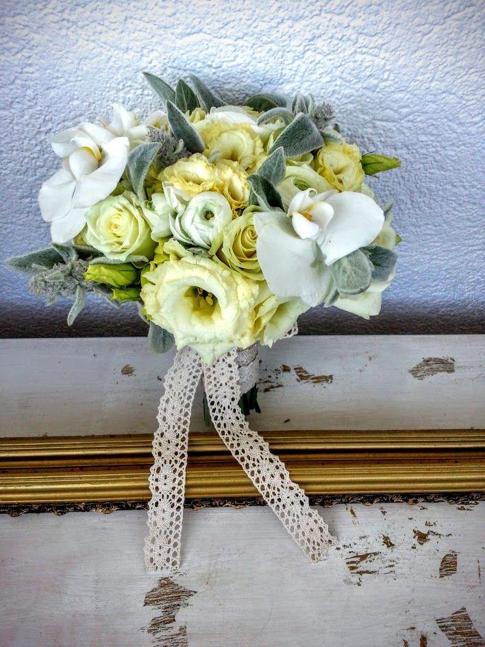 wedding bouquet for a refined bride; white ranunculus, phalaenopsis, lisianthus, roses, stachys and a lot of lace :)) #florariamiozotis #InvitatiideLux #floriromania #nunti #botezuri #mirese