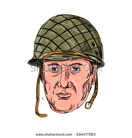 Illustration of a World War Two American Soldier Head viewed from front done in hand sketch Drawing style on isolated background.  #soldier #sketch #illustration