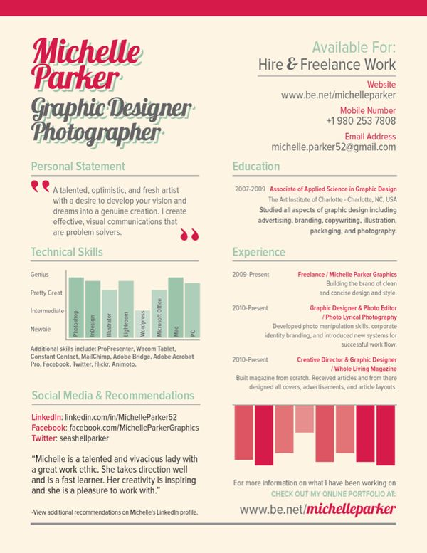 17 best images about Creative Resumes on Pinterest Cool resumes - graphic resume examples