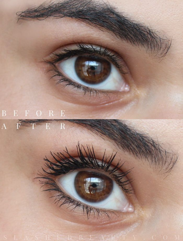 8f4e7a85358 Before and after using the new L'Oreal Voluminous Feline Noir Mascara. Read  the full review to see how it held up throughout the day.