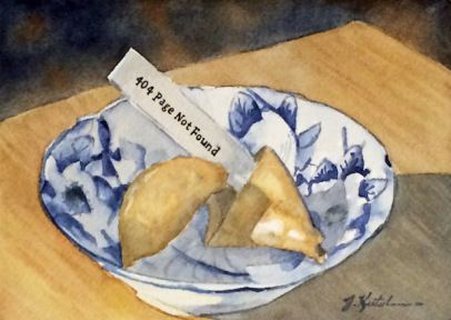 http://www.jkretschmer.com/pages/30in30.html Fortune Fail 2.0, Original Watercolor Painting by Jennifer Kretschmer