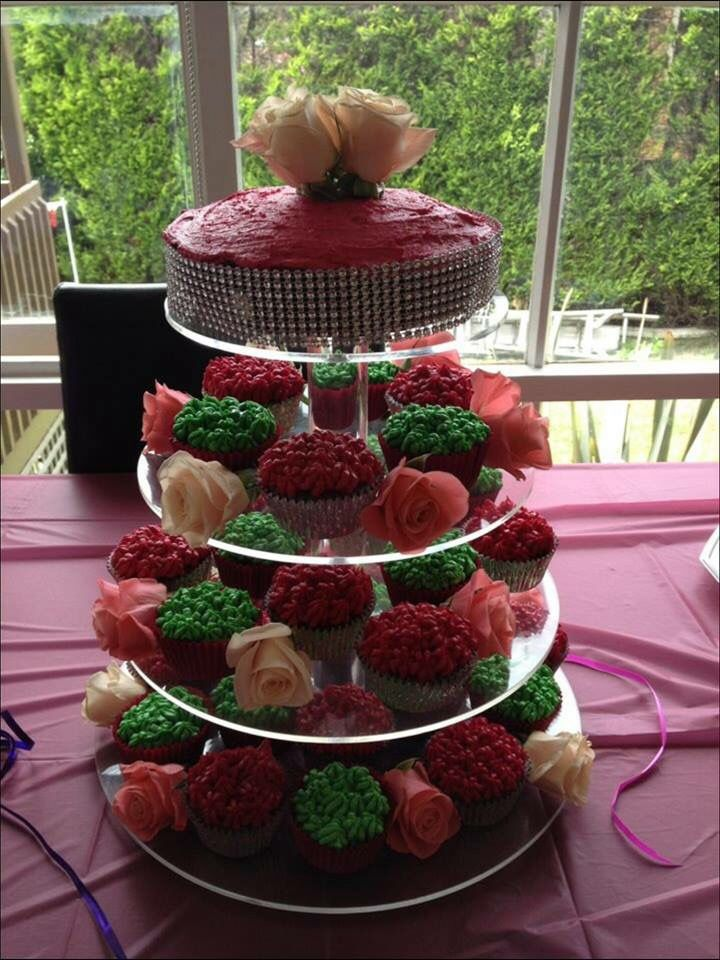 Green & Pink Bling themed girls birthday Cupcake tower