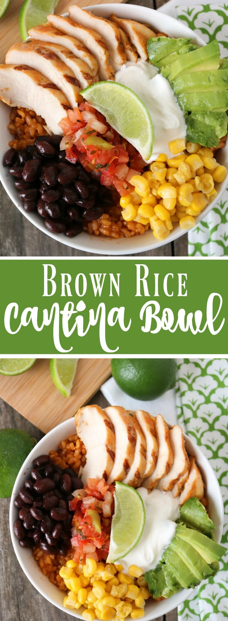 Cook your brown rice in enchilada sauce to give this Brown Rice Cantina Bowl and extra kick!