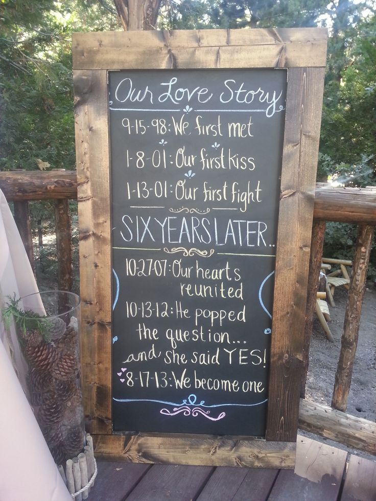 Love Story Timeline Wedding Chalkboard Sign.  -Brandon and Katrina did an awesome job with this rustic Scottish Wedding at #PineRoseCabins #MountainWeddings Near Lake Arrowhead, California. For more information about this venue and discussing wedding decor contact http://www.arrowheadevents.com