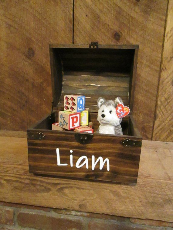 Personalized Wood Keepsake Trunk Wooden Chest Christmas Gift For Kids Time Capsule Box 1st Birthday Sentimental Memory
