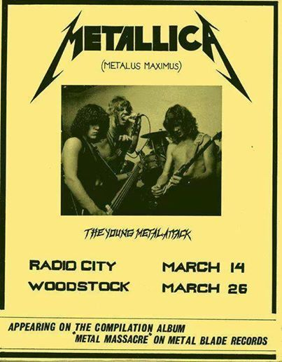 """32 years ago on March 14, 1982, James Hetfield, Lars Ulrich, Dave Mustaine and Ron McGovney took to the very small stage at Radio City in Anaheim, CA for Metallica's first gig.    They performed two original songs (""""Hit the Lights"""" and """"Jump in the Fire""""), four Diamond Head covers (""""Am I Evil?"""", """"The Prince"""", """"Helpless"""", and """"Sucking My Love""""), a Sweet Savage cover (""""Killing Time""""), a Savage cover (""""Let It Loose"""") and a Blitzkrieg cover (""""Blitzkrieg"""")."""