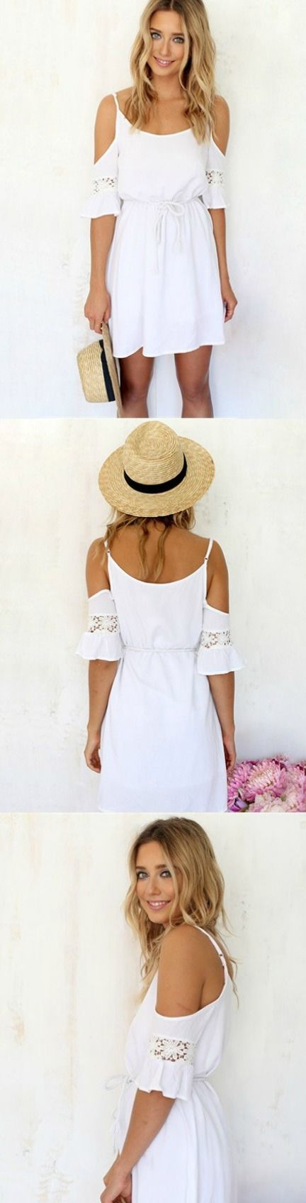 White Lace Cold Shoulder Dress! Click The Image To Buy It Now or Tag Someone You Want To Buy This For. #WhiteMiniDress