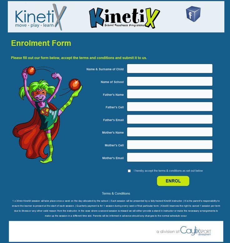 Landing page design for Enrolment for KinetiX