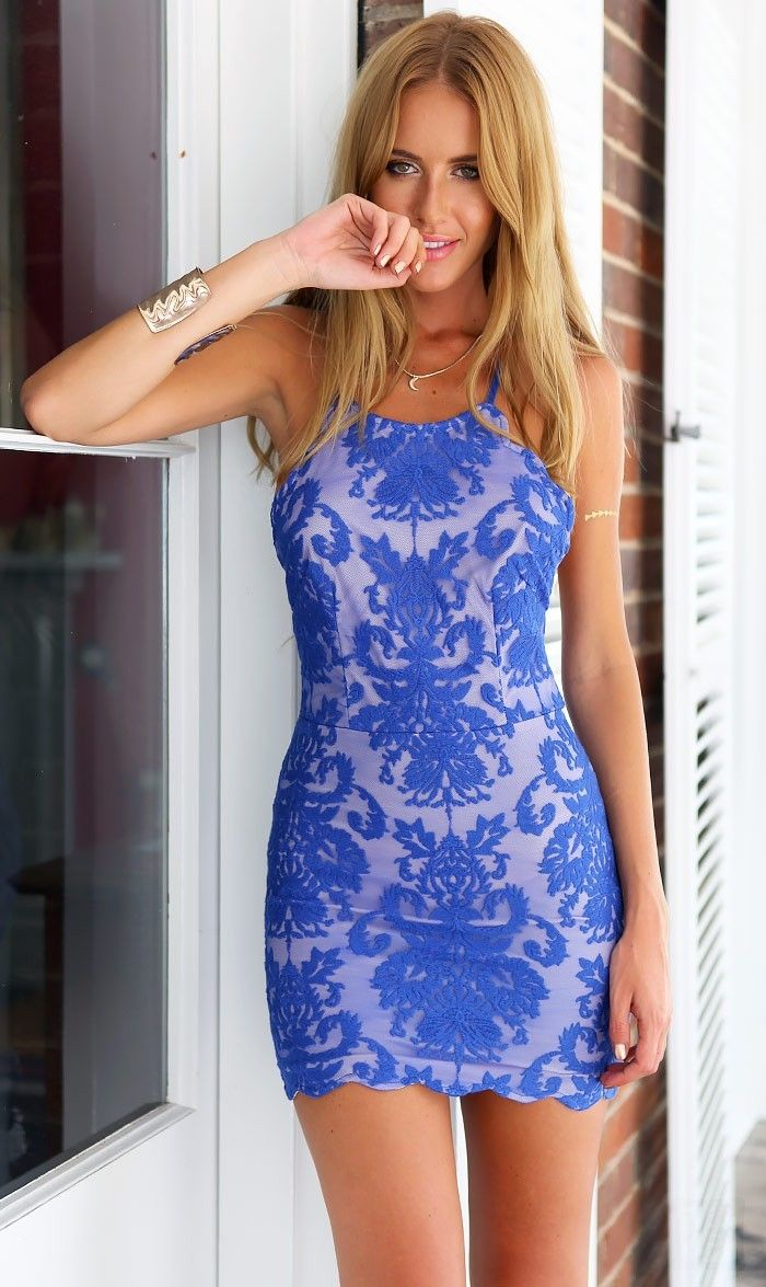 Blue Lace Printed Openback Bodycon Mini Dress Ustrendy