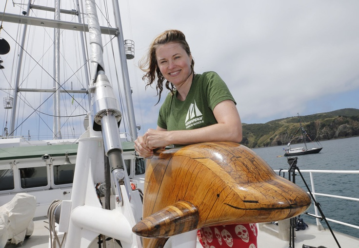 Actress Lucy Lawless onboard the new Rainbow Warrior, on its first visit to New Zealand in Matauri Bay, Northland, January 9 2013, at the resting place of the original Rainbow Warrior (C) GREENPEACE / MARPLE