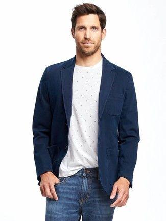 Cómo Combinar Un Blazer Azul Marino Con Unos Vaqueros Azules 207 Looks De Moda Moda Para Hombres Lookastic Vaqueros Azules Blazer Azul Blazer Azul Marino