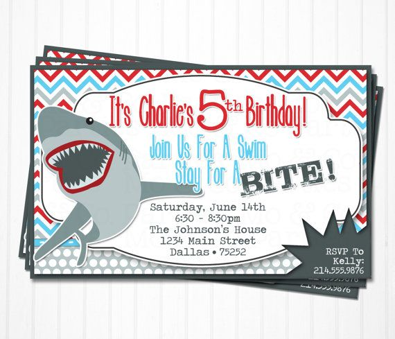 Shark Birthday Invitations  Personalized by moandcoparties on Etsy