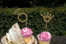 Glitter Ringen en Kroon cupcake toppers Great Gatsby party decor voor gunsten bruiloft verjaardag voedsel picks(China)
