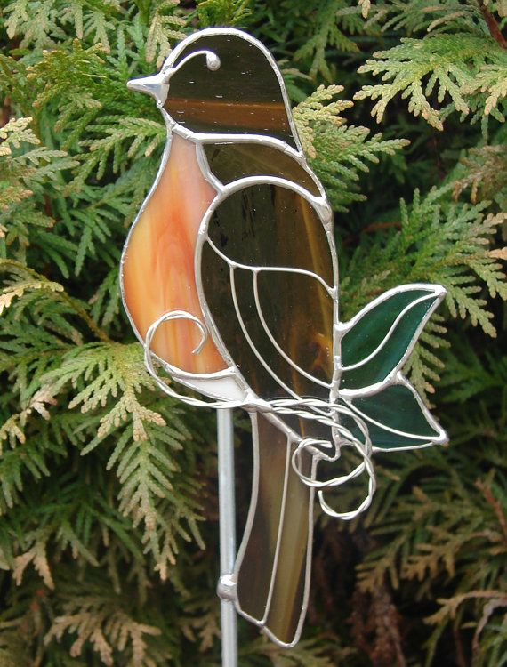 Red Breasted Robin Garden Stake by theglassmenagerie