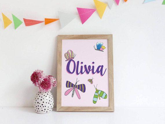 Nursery Prints Girl  Butterfly Nursery Decor  Custom Name