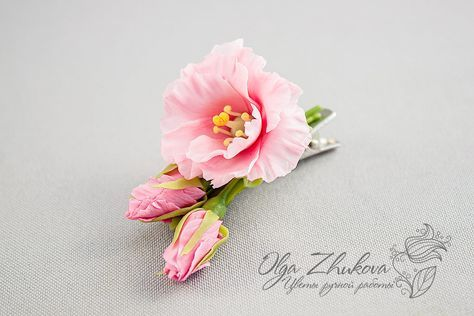 hair clip with pink Eustoma by polyflowers.deviantart.com on @DeviantArt