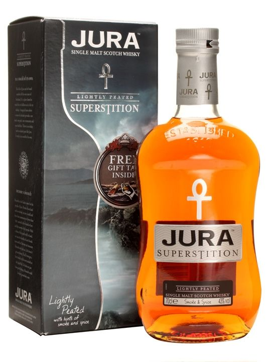A union of two Jura malt whisky styles: one bold, strong and peated, the other warm and delicate. Superstition is a unique whisky created from the marriage of traditional Islay style peated barley...