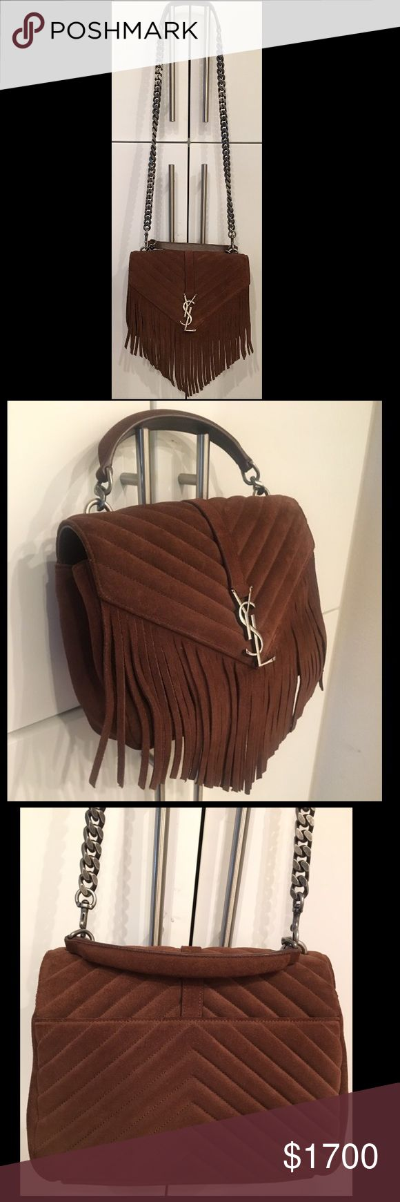 """YVES SAINT LAURENT FRINGE SHOULDER BAG This fringed update to Saint Laurent's 'Classic Monogram' shoulder bag is the investment piece that's topping everyone's wish list this season. Beautiful brown quilted suede and gunmetal-grey hardware. Wear it for a sophisticated finishing note, no matter what the look or season.  *NEW* in FLAWLESS Condition- Purchased at Neiman Marcus for $2,450 (+tax) (price tag still attached)  DETAiLS: Height 16cm-6.5"""" Width 26cm-10"""" Depth 7cm-3"""" Length shoulder…"""