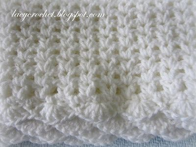 Lacy Crochet: V-Stitch Baby Afghan with Scalloped Trim http://lacycrochet.blogspot.com/2013/05/v-stitch-baby-afghan-with-scalloped-trim.html