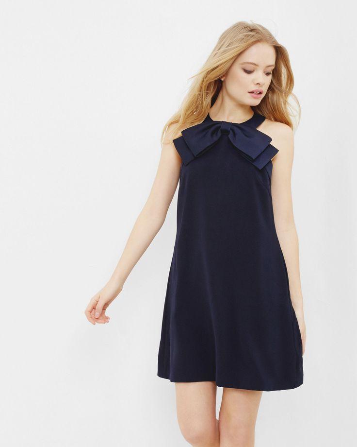 Bow detail A-line dress - Dark Blue | Dresses | Ted Baker