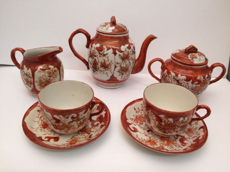 Antique Japanese Kutani tea-set - for two, excellent painting & quality - Meiji