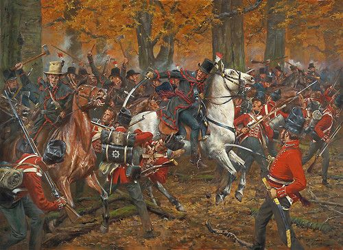 """The Battle of the Thames - October 5, 1813."""" American mounted troops attacking British soldiers during the Battle of the Thames near Chatham, Ontario, during the War of 1812. By Don Troiani."""