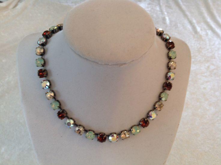 8mm swarovski crystal necklace, green- brown- Crystal ab- necklace- choker -MINT CHOCOLATE by JohnnyCarsonCrystalz on Etsy https://www.etsy.com/listing/217807904/8mm-swarovski-crystal-necklace-green