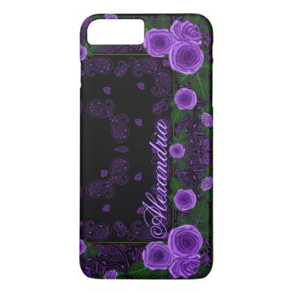 Raspberry Roses & Paisley Bandana Name Template iPhone 8 Plus/7 Plus Case - pink gifts style ideas cyo unique