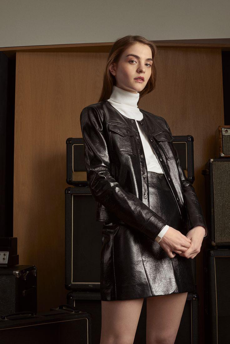 Veste en cuir noir femme mim