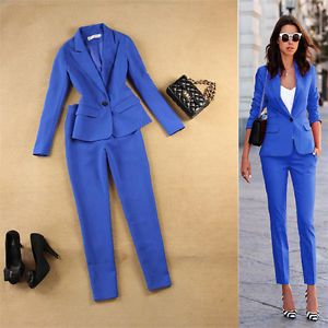 Image result for women's blue trouser suit
