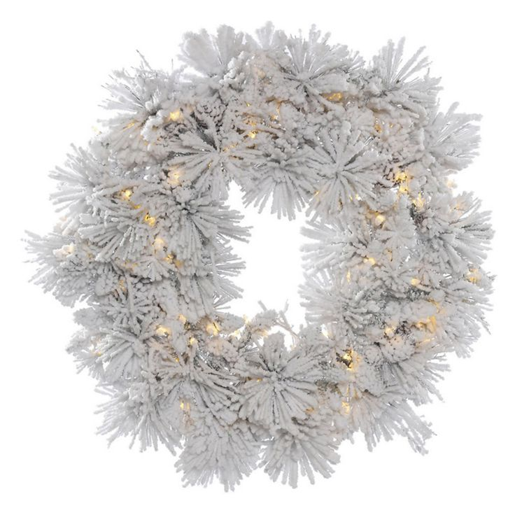 Vickerman 36 in. Flocked Alberta Pre-Lit Wreath with 100 Warm White Lights - A155337LED
