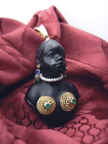 """Blackamoor Woman Bust """"La Maria"""" Gold 18 kt Emeralds Rubys Diamond Oriental Pearl Ebony bust Price euro 1.500,00 - Dogale Jewellery Venice Italia  www.veneziagioielli.com Giorgio Berto Design"""
