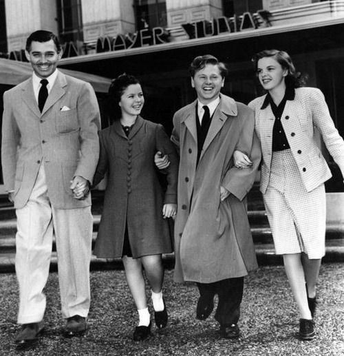 awesomepeoplehangingouttogether: Clark Gable, Shirley Temple, Mickey Rooney and Judy Garland
