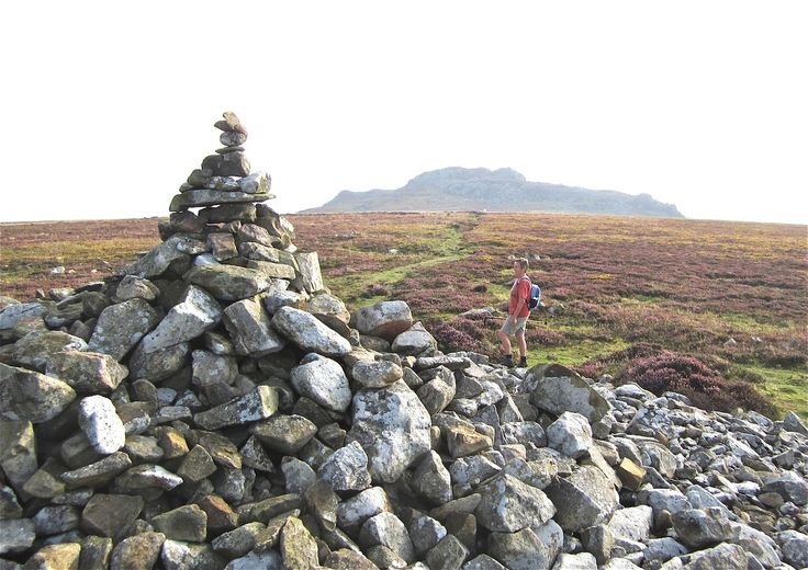 Carn Briw burial mound with the summit of Carningli beyond