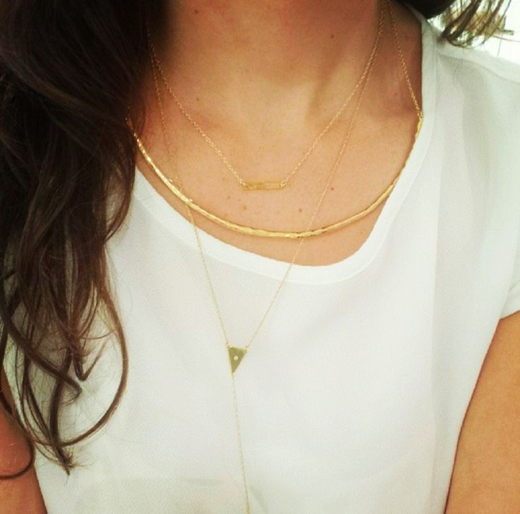 Mini Bar Necklace layered with Collar Bar Necklace and @jenniferzeuner Tyler Lariat Necklace