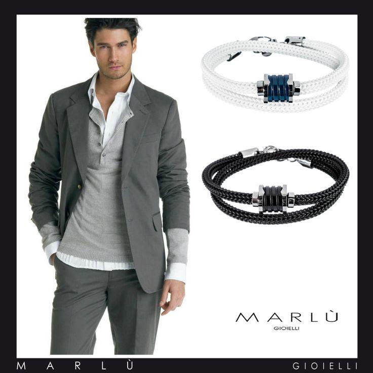 Outfit uomo, con i bracciali della collezione Man class