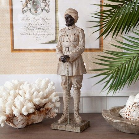 Resin Statue Police Colonial with Staff Front