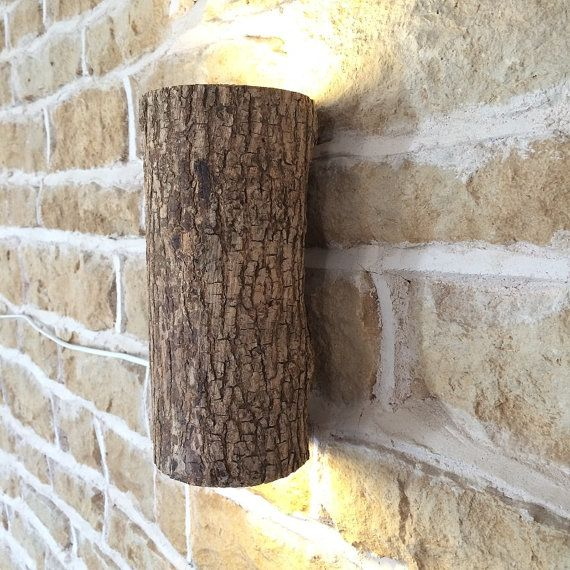 Albero in legno Log parete luce reale Log parete Light Fixture