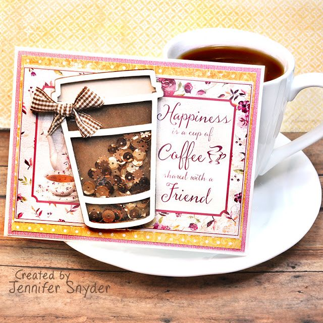 Coffee Cup Shaker Card Diy Shaker Card Shaker Cards Coffee Cups Diy Card Making Ideas For Beginners